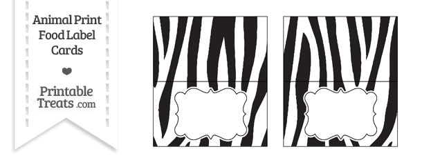 Zebra Print Food Labels
