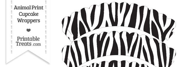 Zebra Print Scalloped Cupcake Wrappers