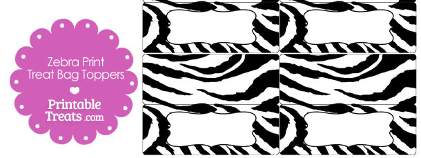 Zebra Print Treat Bag Toppers