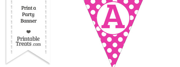 Hot Pink Polka Dot Pennant Flag Capital Letter A