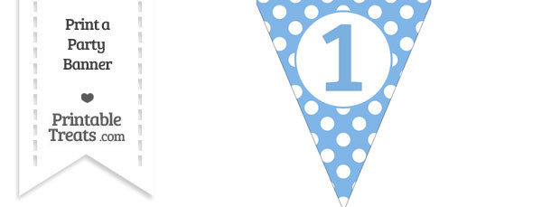 Pastel Blue Polka Dot Pennant Flag Number 1