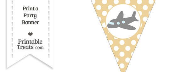 Pastel Bright Orange Polka Dot Pennant Flag with Airplane Facing Left Download