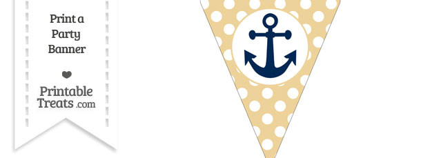 Pastel Bright Orange Polka Dot Pennant Flag with Anchor Download