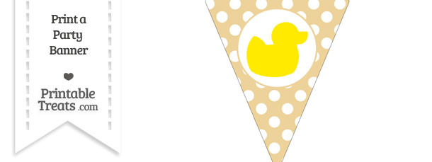 Pastel Bright Orange Polka Dot Pennant Flag with Duck Facing Right Download