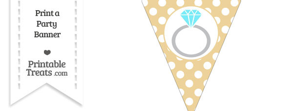 Pastel Bright Orange Polka Dot Pennant Flag with Engagement Ring Download