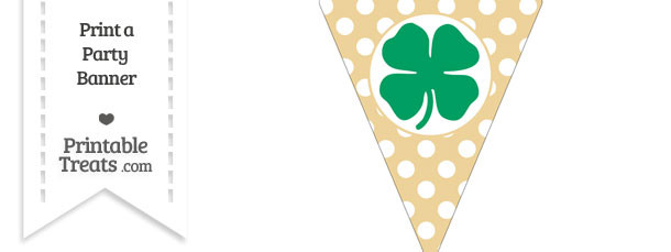 Pastel Bright Orange Polka Dot Pennant Flag with Four Leaf Clover Facing Right Download