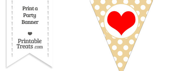 Pastel Bright Orange Polka Dot Pennant Flag with Heart Download