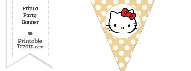 Pastel Bright Orange Polka Dot Pennant Flag with Hello Kitty Download
