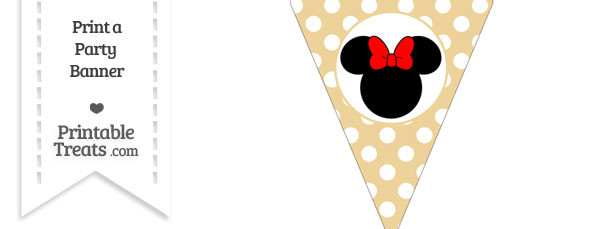 Pastel Bright Orange Polka Dot Pennant Flag with Minnie Mouse Download