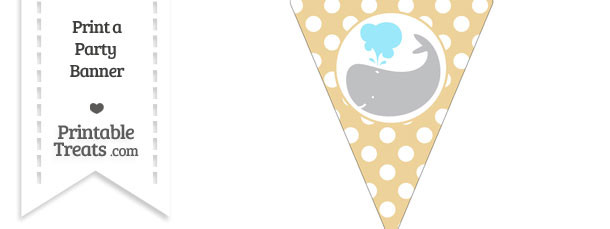 Pastel Bright Orange Polka Dot Pennant Flag with Whale Facing Left Download