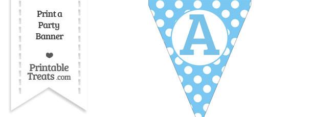 Pastel Light Blue Polka Dot Pennant Flag Capital Letter A