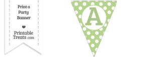 Pastel Light Green Polka Dot Pennant Flag Capital Letter A