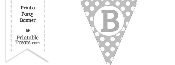 Pastel Light Grey Polka Dot Pennant Flag Capital Letter B