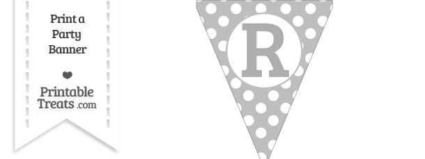 Pastel Light Grey Polka Dot Pennant Flag Capital Letter R