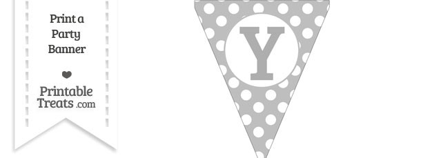 Pastel Light Grey Polka Dot Pennant Flag Capital Letter Y