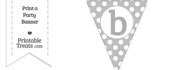 Pastel Light Grey Polka Dot Pennant Flag Lowercase Letter B