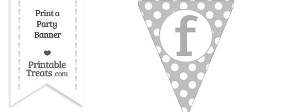 Pastel Light Grey Polka Dot Pennant Flag Lowercase Letter F