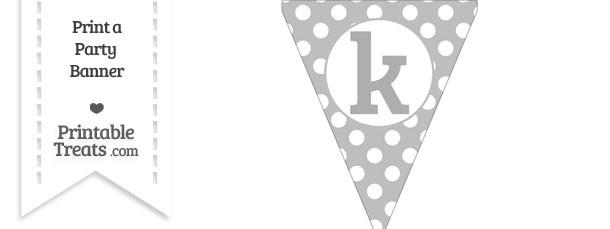 Pastel Light Grey Polka Dot Pennant Flag Lowercase Letter K