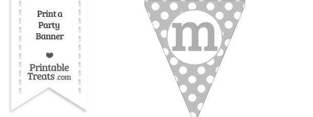 Pastel Light Grey Polka Dot Pennant Flag Lowercase Letter M