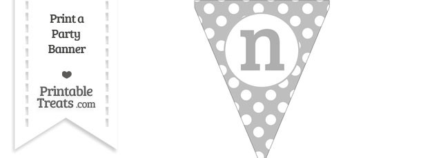 Pastel Light Grey Polka Dot Pennant Flag Lowercase Letter N