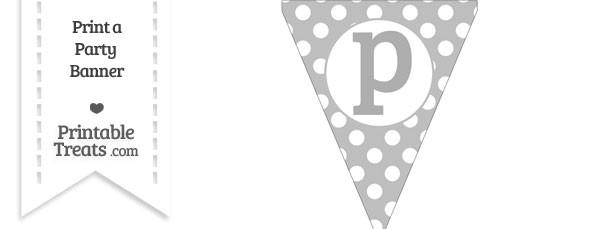 Pastel Light Grey Polka Dot Pennant Flag Lowercase Letter P