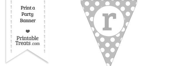Pastel Light Grey Polka Dot Pennant Flag Lowercase Letter R