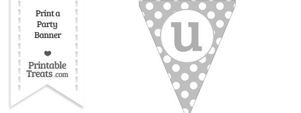 Pastel Light Grey Polka Dot Pennant Flag Lowercase Letter U