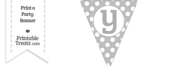 Pastel Light Grey Polka Dot Pennant Flag Lowercase Letter Y