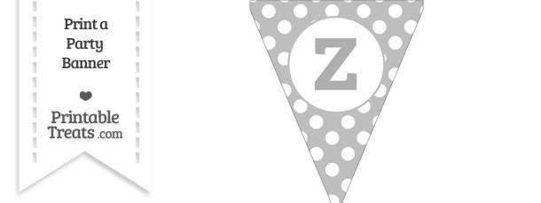 Pastel Light Grey Polka Dot Pennant Flag Lowercase Letter Z