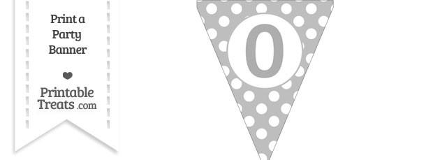 Pastel Light Grey Polka Dot Pennant Flag Number 0