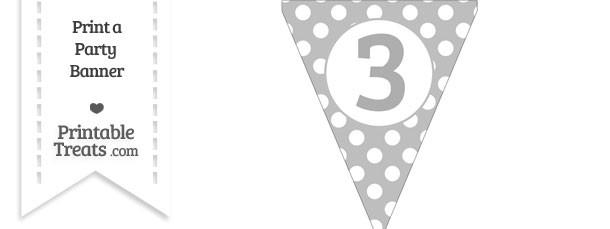 Pastel Light Grey Polka Dot Pennant Flag Number 3