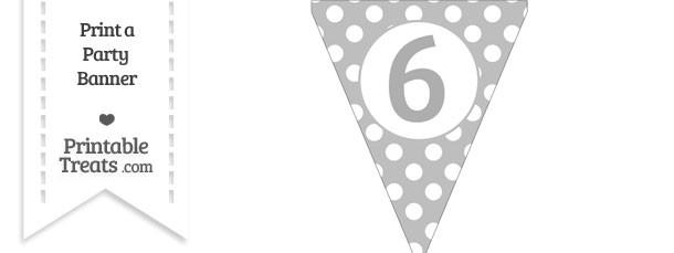 Pastel Light Grey Polka Dot Pennant Flag Number 6