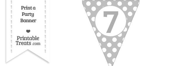 Pastel Light Grey Polka Dot Pennant Flag Number 7