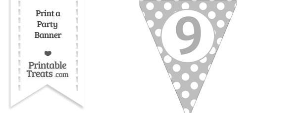Pastel Light Grey Polka Dot Pennant Flag Number 9
