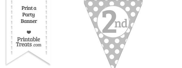 Pastel Light Grey Polka Dot Pennant Flag Ordinal Number 2nd