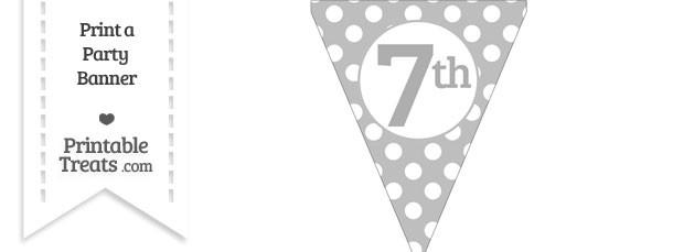 Pastel Light Grey Polka Dot Pennant Flag Ordinal Number 7th