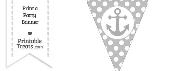 Pastel Light Grey Polka Dot Pennant Flag with Anchor