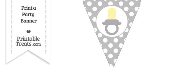 Pastel Light Grey Polka Dot Pennant Flag with Baby Pacifier