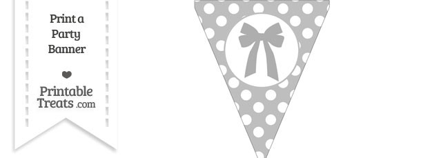 Pastel Light Grey Polka Dot Pennant Flag with Bow