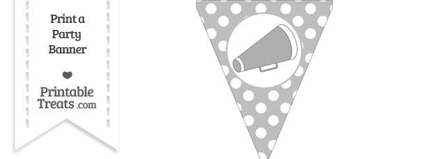 Pastel Light Grey Polka Dot Pennant Flag with Cheer Megaphone Facing Right
