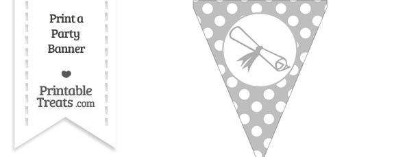 Pastel Light Grey Polka Dot Pennant Flag with Diploma