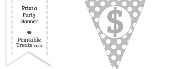 Pastel Light Grey Polka Dot Pennant Flag with Dollar Sign