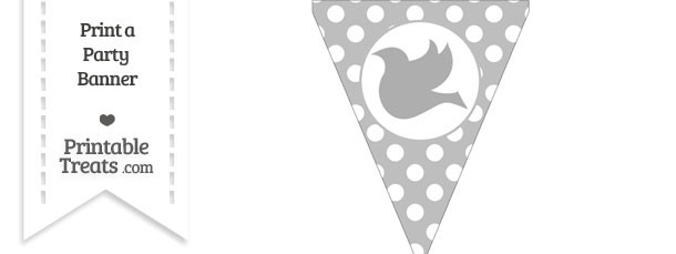 Pastel Light Grey Polka Dot Pennant Flag with Dove Facing Left