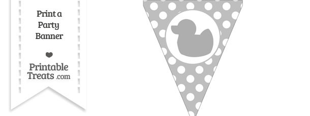 Pastel Light Grey Polka Dot Pennant Flag with Duck Facing Left