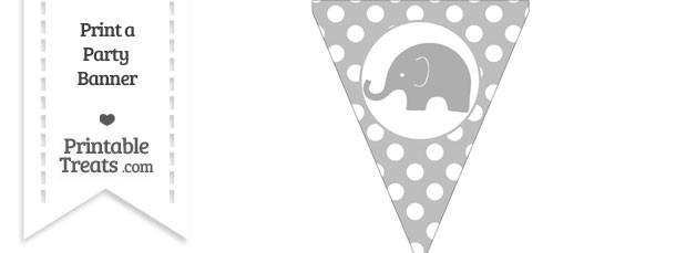 Pastel Light Grey Polka Dot Pennant Flag with Elephant Facing Left