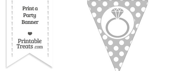 Pastel Light Grey Polka Dot Pennant Flag with Engagement Ring