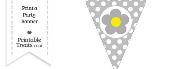 Pastel Light Grey Polka Dot Pennant Flag with Flower