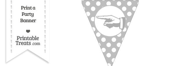 Pastel Light Grey Polka Dot Pennant Flag with Hand Pointing Left