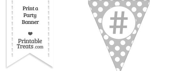 Pastel Light Grey Polka Dot Pennant Flag with Hash Character