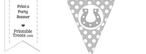 Pastel Light Grey Polka Dot Pennant Flag with Horseshoe